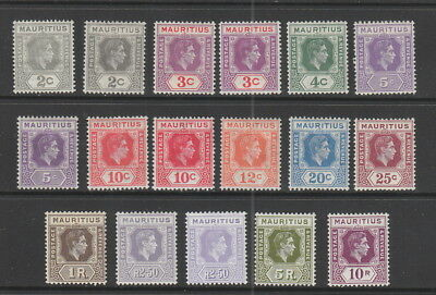 Mauritius 1938-1949 Set to 10r fine MH with shades