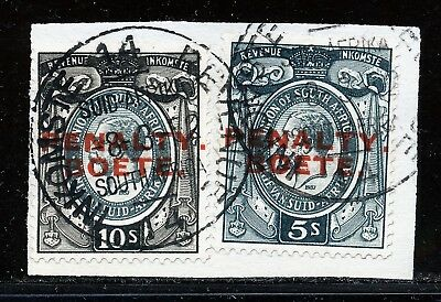 South Africa 1937 Kgvi 5/ & 10/ Ovpd Penalty Revenues Fine Used On Piece. A855