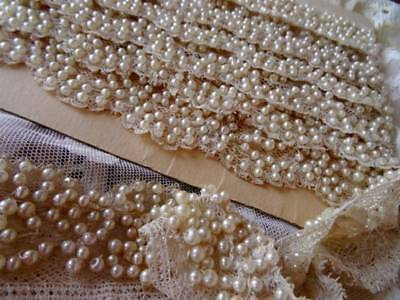 A Stunning Antique Bridal Valenciennes Lace Embellished Pearls C.1890