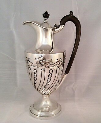 "Fine 11"" Antique Repousse Silver Plated Claret Jug James Deakin & Son C1870"