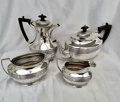 Rare Antique Edwardian LOWE & SONS Of CHESTER Silver Plated 4pc Tea Set C.1900