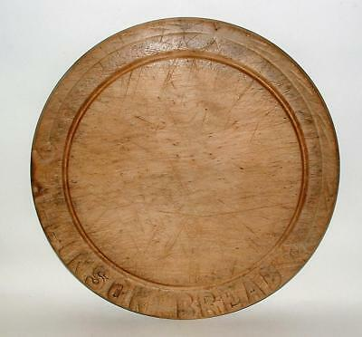 Antique English Round Wood Bread Board Hand Carved Allinson Bread Advertising !!