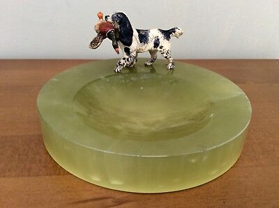 Fine Quality Austrian Cold Painted Bronze Springer With Pheasant Onyx Pin Tray