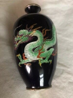 "Vintage Japanese Cloisonne Enamel Cobalt Blue Dragon Vase 4"" With Makers Mark"