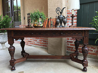 Antique English Carved Oak Sofa TABLE Renaissance Revival Altar Library Desk