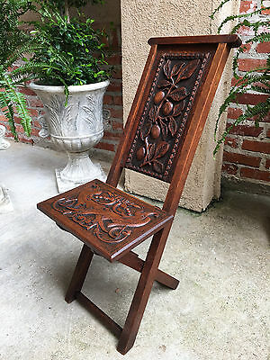 Antique English Carved Oak Wood Folding Chair Campaign Renaissance British