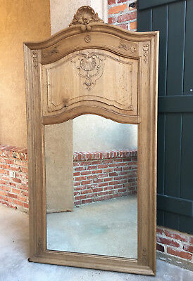 Antique French Carved Bleached Oak Louis XV Pier Mirror Trumeau Foyer Wall