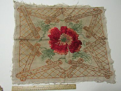 Antique Vintage Arts & Crafts Crewel Work Pillow Top Cover/Red Poppy Logs Leaves