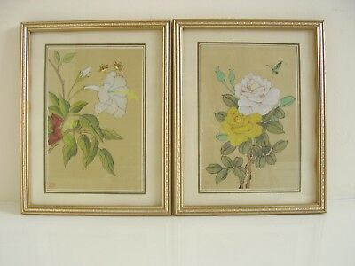 Pair Vintage Chinese Silk Hand Painted Pictures Framed Glazed Bees Butterfly