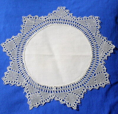 """Antique  Armenian Needle Knotted Lace  Doily 11"""""""