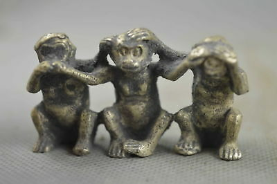Chinese Collectable Handwork Old Miao Silver Carving Hug Monkey Longevity Statue