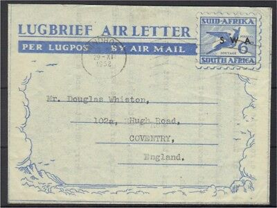South West Africa 1952 air letter/ aerogramme (SA overprinted) to UK