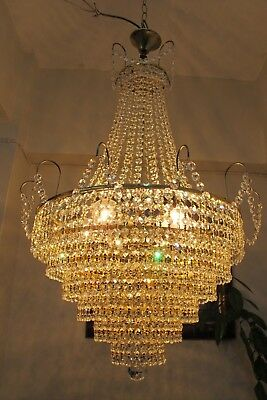 Antique Vnt.RARE BIG Austrian Swarovski Crystal Chandelier Light 1940's 22 in,.