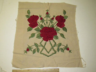 Antique Vintage Arts & Crafts Crewel Work Pillow Top Cover Red Roses Art Deco