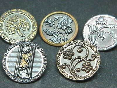 OUTSTANDING LOT Med Victorian Antique Vtg Metal Brass Buttons PICTURES FLOWERS