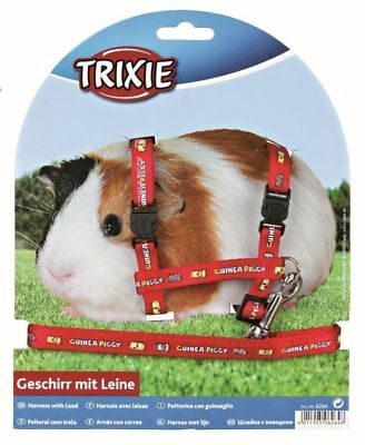 Trixie Nylon Harness With Lead for Guinea Pigs Red