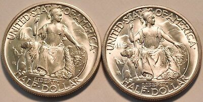 Lot of (2) 1935 S San Diego Commemorative Silver Half Dollars, Uncirculated 50C