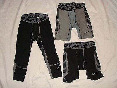 LOT OF 3 NIKE DRI-FIT PRO COMBAT Stretch RUNNING WORKOUT TIGHTS SHORTS Mens L