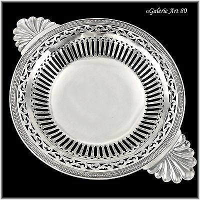 "BARDIES : Antique French Sterling Silver 11"" Ecuelle style Footed Serving Dish"