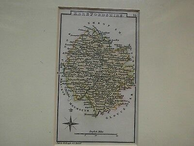 HEREFORDSHIRE-HAND COLOURED ANTIQUE MAP-C1810-30 Mr LEIGH,THE STRAND-ENGRAVED