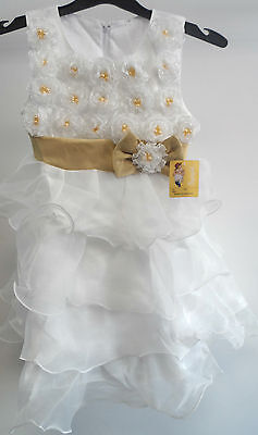 Beautiful Girls White Occasion Dress approx Size M Approx 8/9 years Box72 67 N