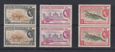 British Honduras 1957 perf 14 pairs SG180a. 181a and 183a MH