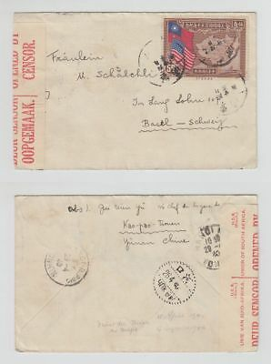 China Old Cover Map Flags Stamp Censor Yunnan Via Hanoi To Switzerland 1940 !!
