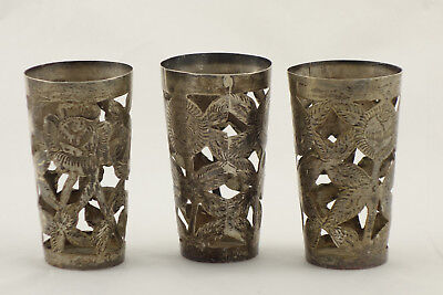 Lot of 3 Vintage Mexico Sterling 925 Silver Shot Glass Holders