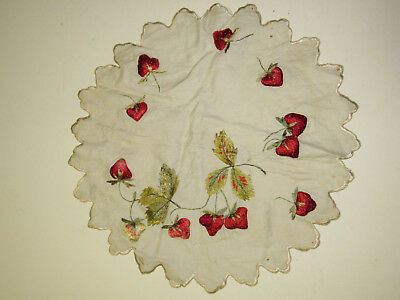 Antique Linen Embroidered Round Centerpiece  3D Trapunto Red/ Green Strawberry