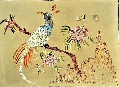 Vtg Antique Bird Floral Asian Tapestry Completed Finished Silk Hand Embroidery
