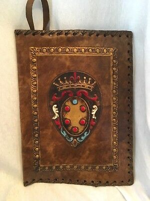 """VINTAGE BROWN LEATHER TOOLED EMBOSSED BOOK BIBLE COVER 9 1/2""""H x 7""""W"""