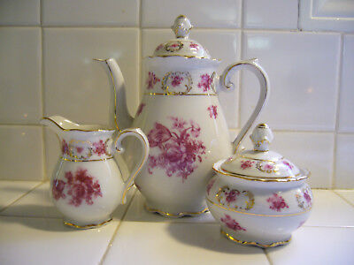 Schumann Arzberg Germany Teapot With Creamer And Sugar Bowl With Lid