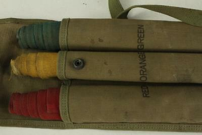 Vintage US Military WWII CS90 Semaphore Signal Corps 3 Flag Set & Canvas Bag