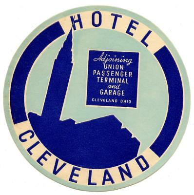 Hotel Cleveland Ohio Original Vintage Deco Luggage Label Union Passenger Train