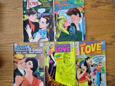 5 Romance Comics.Young Romance,Young Love,Our Love.60s/70s DC and Marvel.Gd/Vg