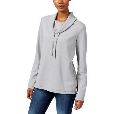 Karen Scott Sports 1118 Womens Cowl Neck Heathered Long Sleeve Sweatshirt BHFO