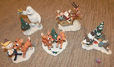 LOT RUDOLPH THE RED-NOSED REINDEER Deluxe Figures by ENESCO 5 pcs Collectibles
