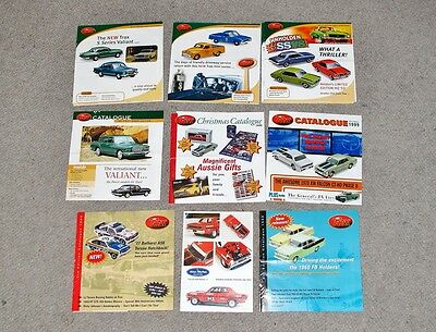 Trax Diecast model catalogues. Holden, Ford, Valiant, Chrysler brochures. Biante