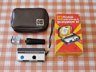 Kodak Instamatic 92 camera. Go Anywhere Kit. Original box, manual and case.