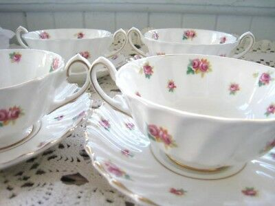 4 Royal Doulton China Rose Bud Cream Soup Bowls With Underplates  4 Sets H4845