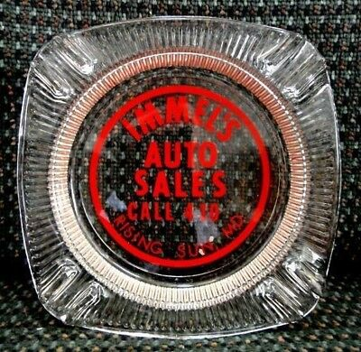 vintage IMMEL'S AUTO SALES rising sun md ASH TRAY GLASS advertising CAR