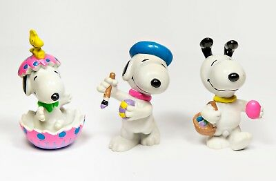 3 Vintage Snoopy Applause Peanuts PVC Characters Toy Figurines Easter