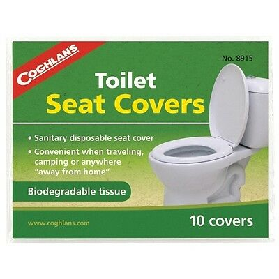 Coghlans Toilet Seat Covers Pack of 10 - Camping Bio-degradable disposable
