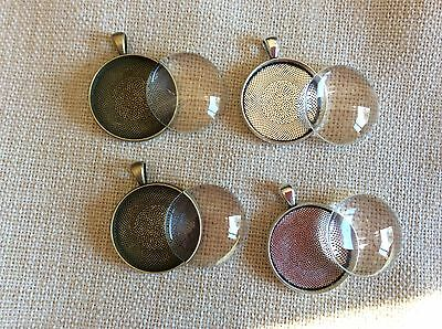 5 x 30mm Cabochon Tray and Dome Set Silver Setting Round Glass Pendant DIY