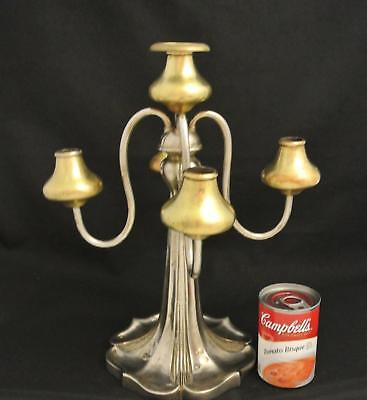 Victorian Art Nouveau Gothic Silver Plate 5 Light Gilt Candelabra Candel Holder