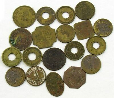 Vintage/Antique Brass/Bronze Good For 5c Trade Tokens Variety Lot