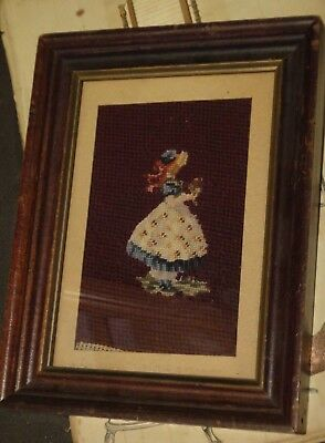 antique PETITE POINT EMBROIDERED SAMPLER victorian girl,wood frame