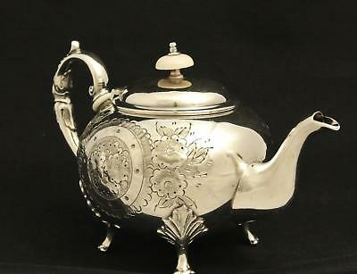 Silver Plate Hand Chased Embossed Repousse Sheffield England Tea Pot Coffee Pot