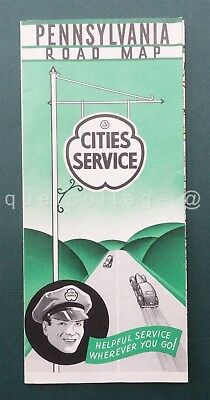 """1940S vintage PENNSYLVANIA ROAD MAP CITIES SERVICE 26""""x19"""" clean nice"""