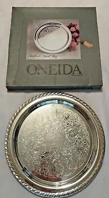 ONEIDA Maybrook Round Silverplate Tray-12 Inches-In Original Box